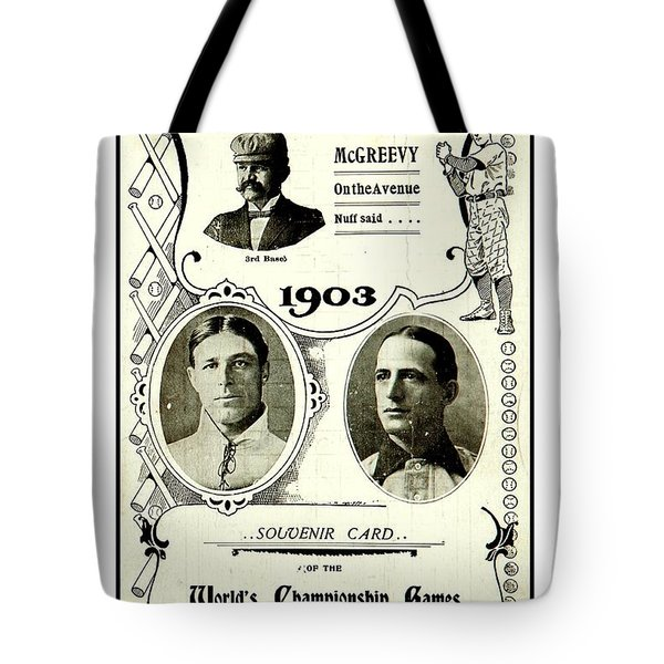 Tote Bag featuring the drawing 1903 World Series Poster by Peter Gumaer Ogden Collection