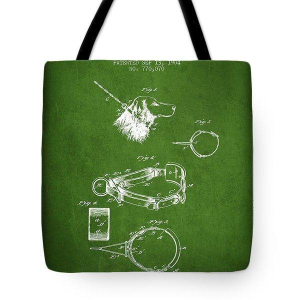 1904 Dog Collar Patent - Green Tote Bag