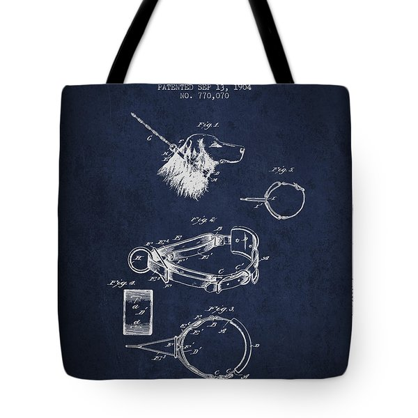 1904 Dog Collar Patent - Navy Blue Tote Bag