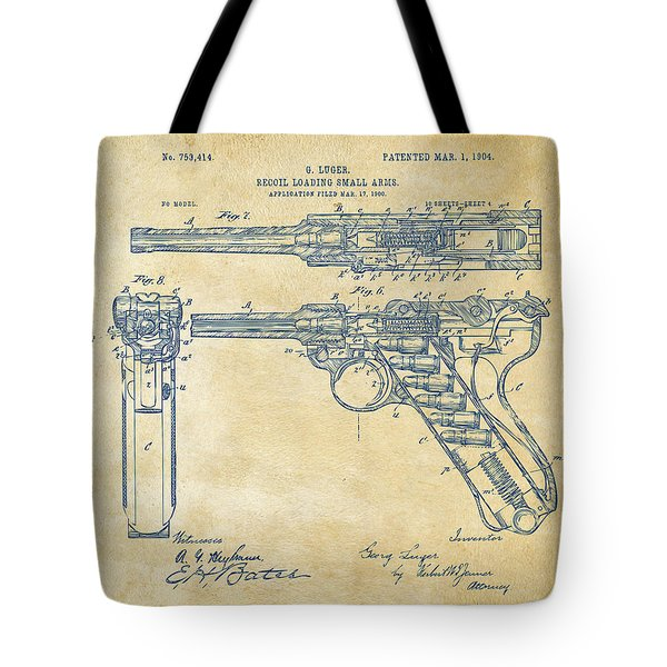 1904 Luger Recoil Loading Small Arms Patent - Vintage Tote Bag by Nikki Marie Smith