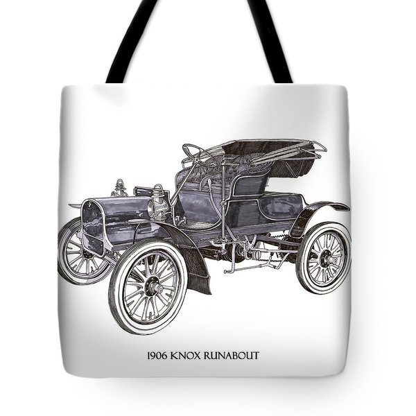 Tote Bag featuring the drawing 1906 Knox Model F 3 Surry by Jack Pumphrey
