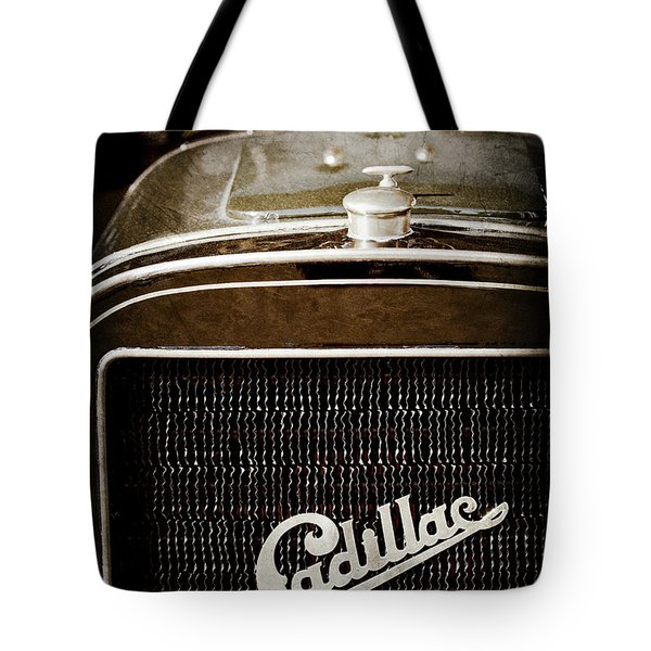 Tote Bag featuring the photograph 1907 Cadillac Model M Touring Grille Emblem -1106ac by Jill Reger