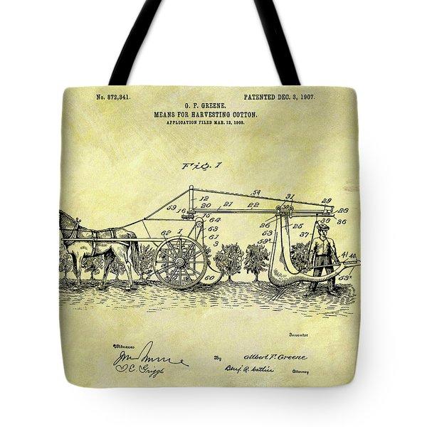 1907 Cotton Harvester Patent Tote Bag