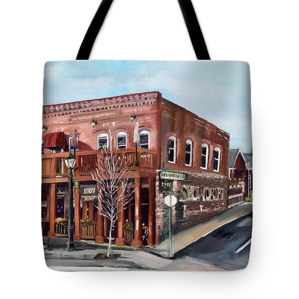 Tote Bag featuring the painting 1907 Restaurant And Bar - Ellijay, Ga - Historical Building by Jan Dappen