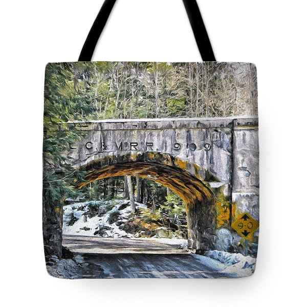 1909 Country Backroad Train Overpass Tote Bag