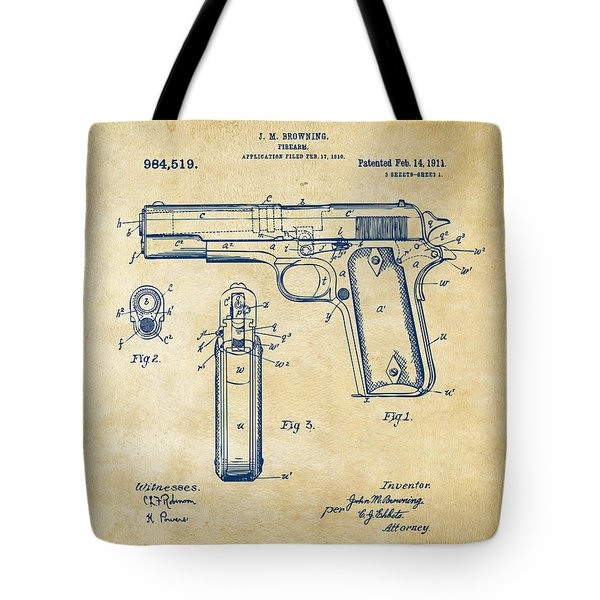 1911 Colt 45 Browning Firearm Patent Artwork Vintage Tote Bag