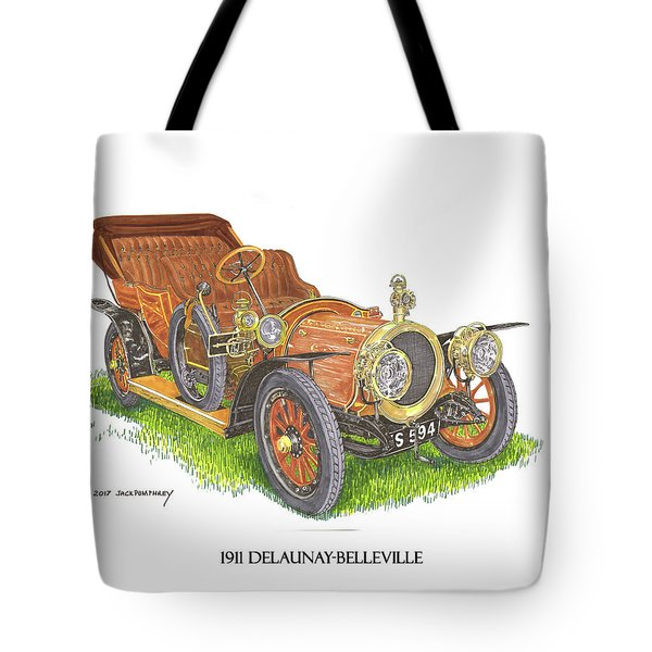 Tote Bag featuring the painting 1911 Delaunay Belleville Open Tourer by Jack Pumphrey