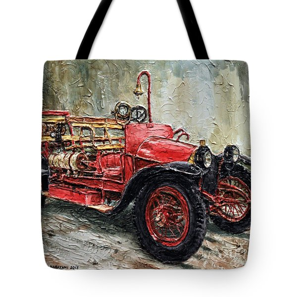 1912 Porsche Fire Truck Tote Bag by Joey Agbayani