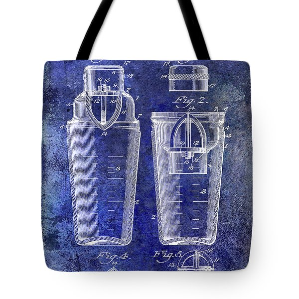 1913 Cocktail Shaker Patent Blue Tote Bag