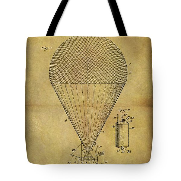1913 Hot Air Balloon Patent Tote Bag