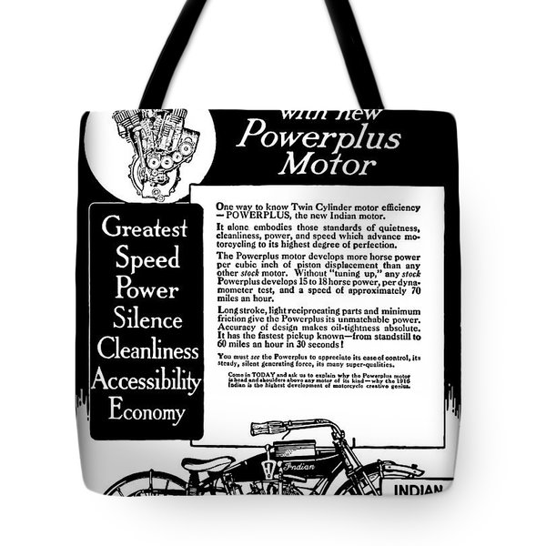 Tote Bag featuring the digital art 1913 Indian Motorcycle Is The Best by Daniel Hagerman