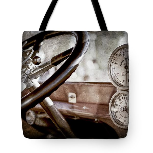 Tote Bag featuring the photograph 1914 Rolls-royce 40 50 Silver Ghost Landaulette Steering Wheel -0795ac by Jill Reger