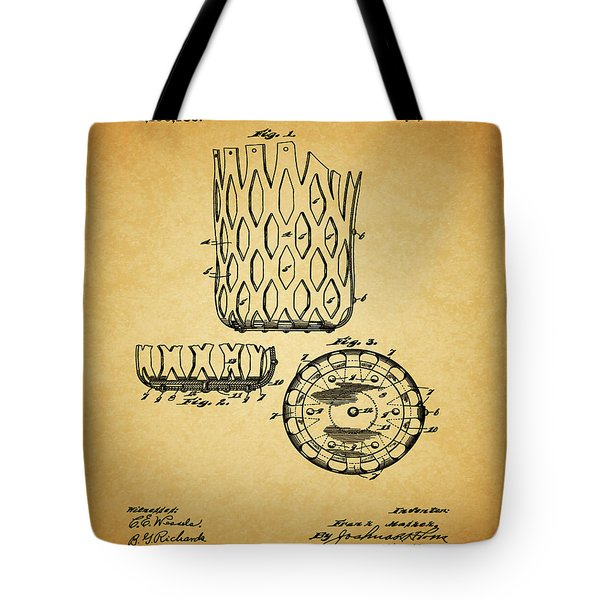 Tote Bag featuring the mixed media 1916 Pool Table Pocket Patent by Dan Sproul