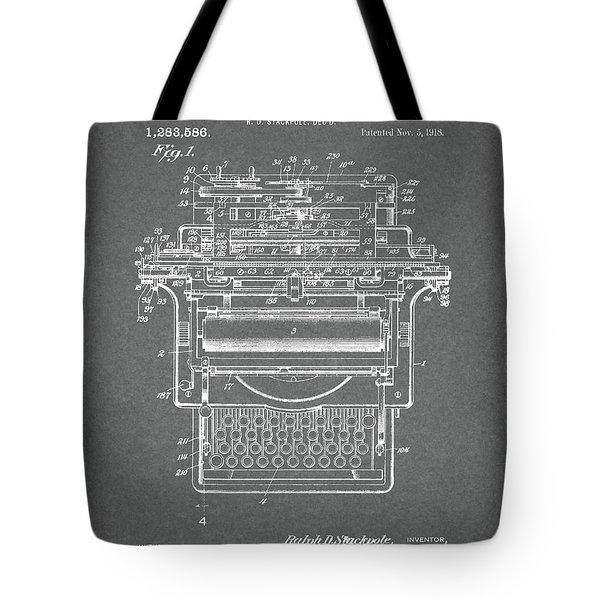 1918 Typewriter Design Patent Tote Bag