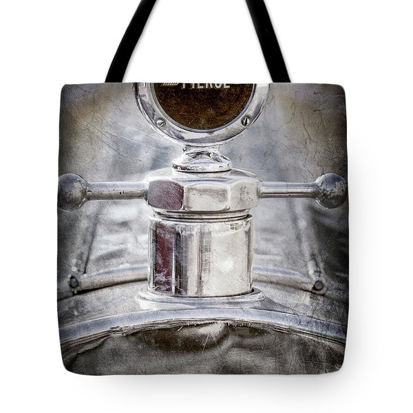 Tote Bag featuring the photograph 1920 Pierce-arrow Model 48 Coupe Hood Ornament -2829ac by Jill Reger