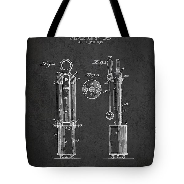1920 Tuning Fork Patent - Charcoal Tote Bag