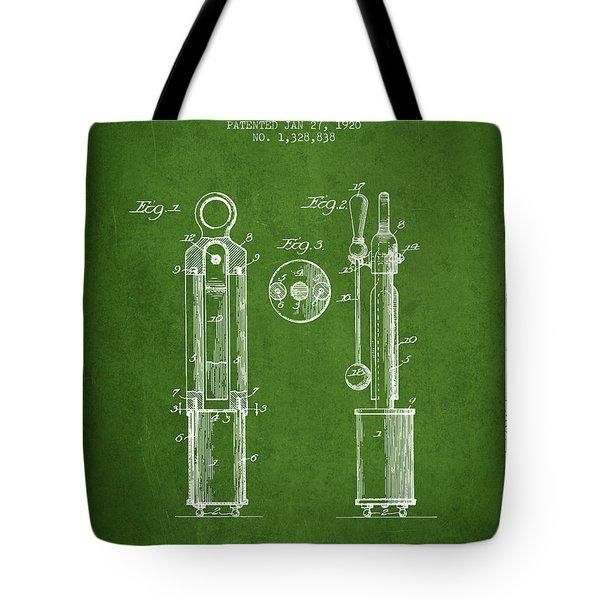 1920 Tuning Fork Patent - Green Tote Bag