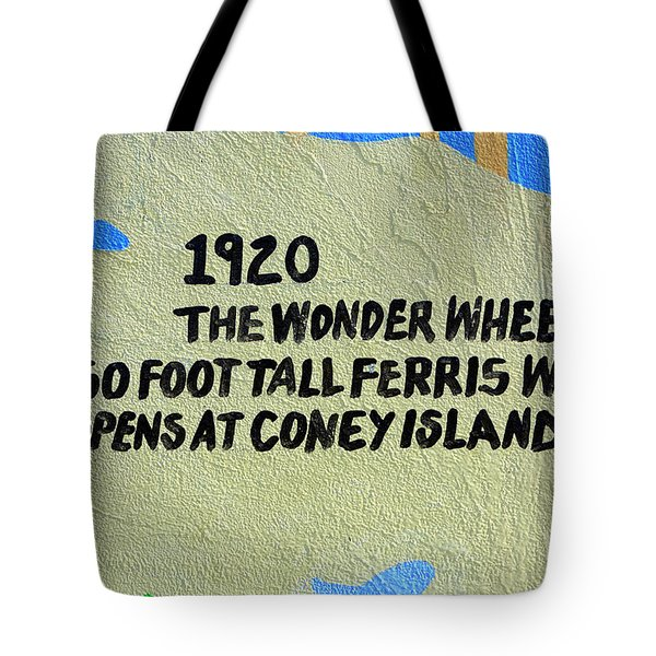 Tote Bag featuring the photograph 1920 Wonder Wheel by John Rizzuto
