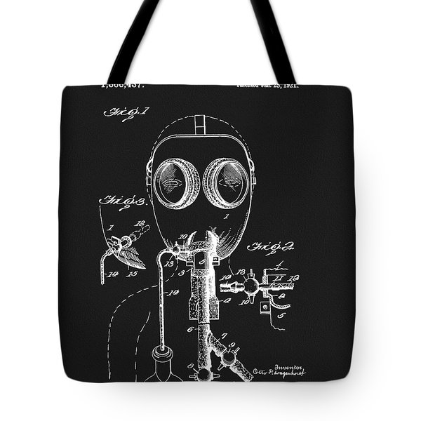1921 Gas Mask Patent Tote Bag