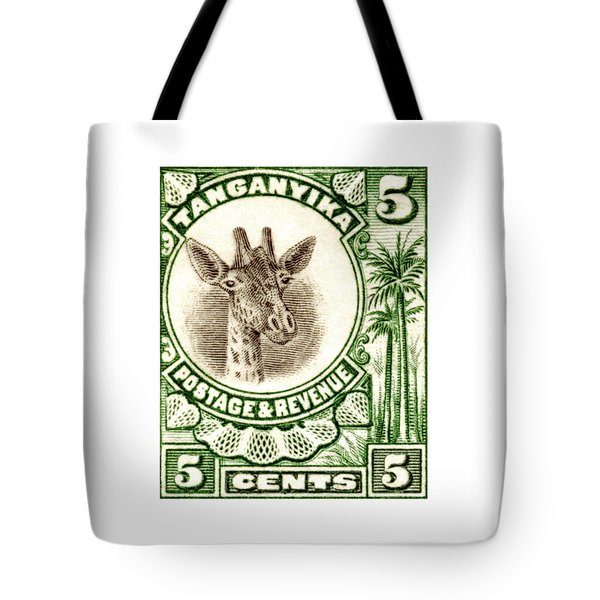 Tote Bag featuring the painting 1922 East African Giraffe Stamp by Historic Image