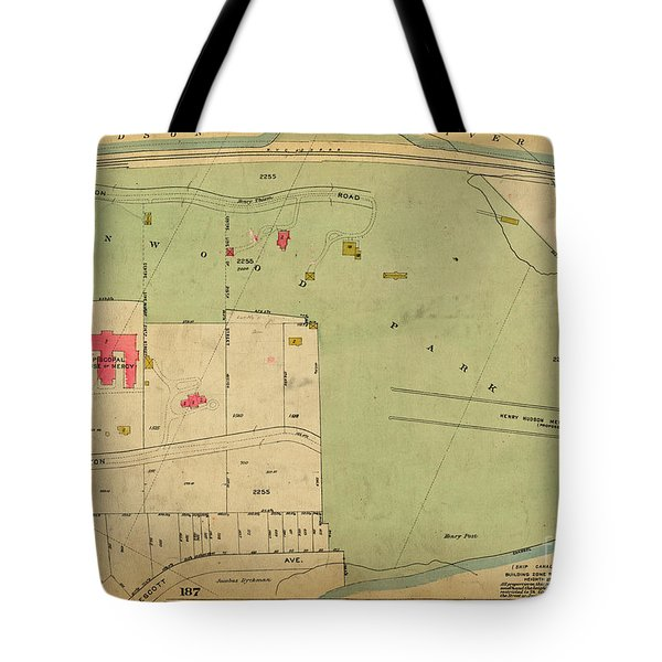 Tote Bag featuring the photograph 1923 Inwood Hill Map  by Cole Thompson
