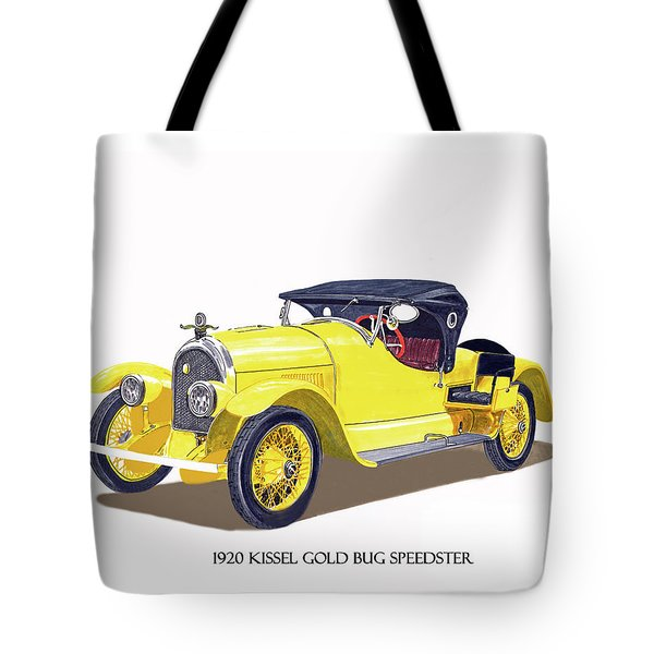 Tote Bag featuring the painting 1923 Kissel Kar  Gold Bug Speedster by Jack Pumphrey