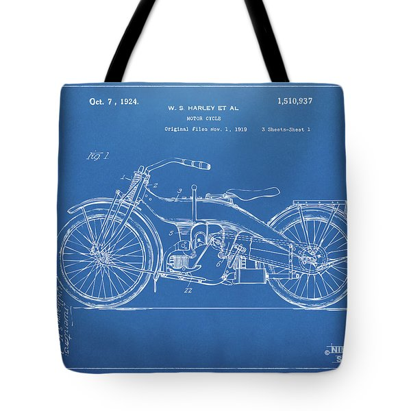 Tote Bag featuring the digital art 1924 Harley Motorcycle Patent Artwork Blueprint by Nikki Marie Smith