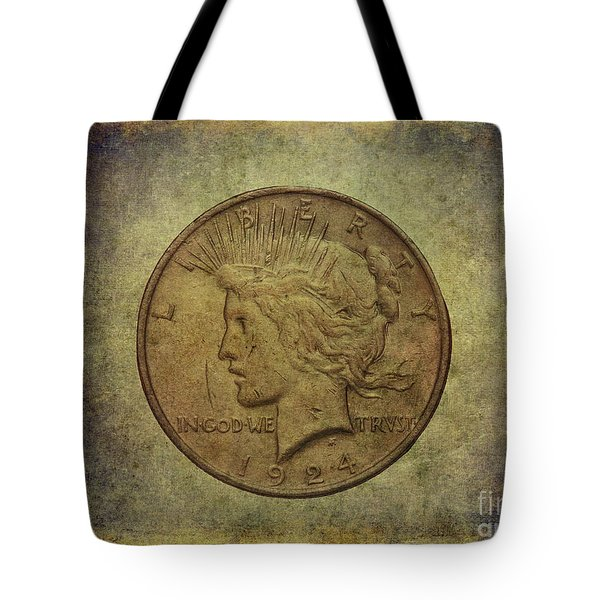 Tote Bag featuring the digital art 1924 Peace Silver Dollar by Randy Steele