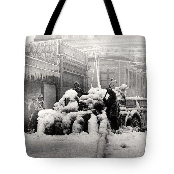 1925 Boston Fire Engine Encased In Ice Tote Bag by Historic Image