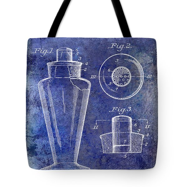 1925 Cocktail Shaker Patent Blue Tote Bag