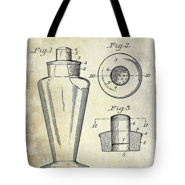 1925 Cocktail Shaker Patent  Tote Bag