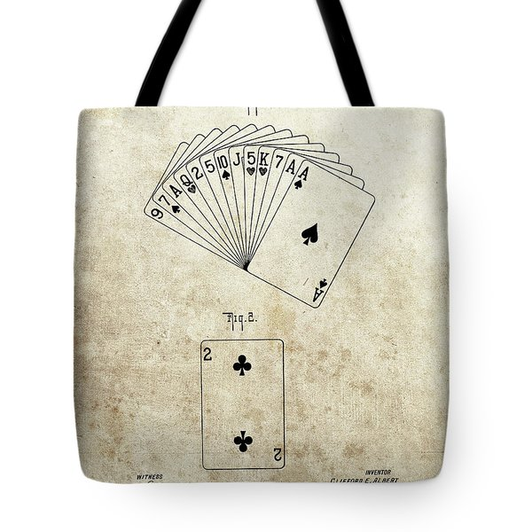 1926 Deck Of Cards Patent Tote Bag