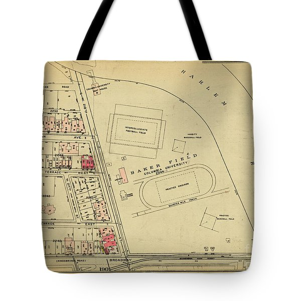 Tote Bag featuring the photograph 1927 Baker Field Map  by Cole Thompson