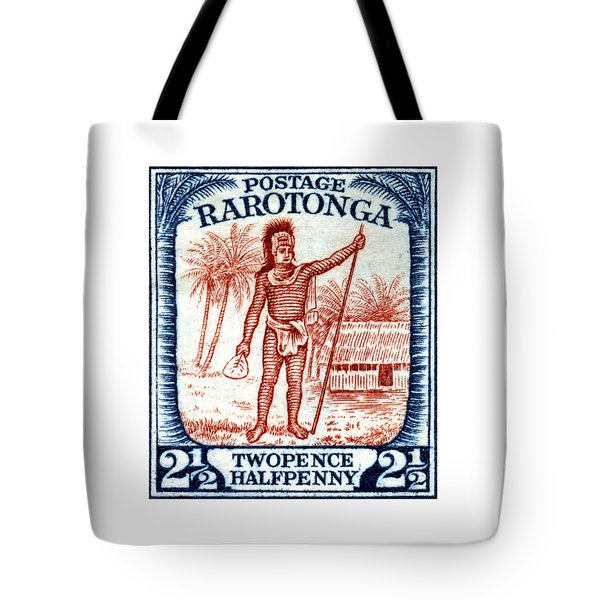 Tote Bag featuring the painting 1927 Cook Island Rarotongan Chief Stamp by Historic Image