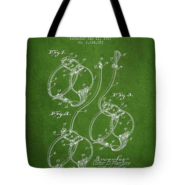 1927 Dog Harness Patent - Green Tote Bag