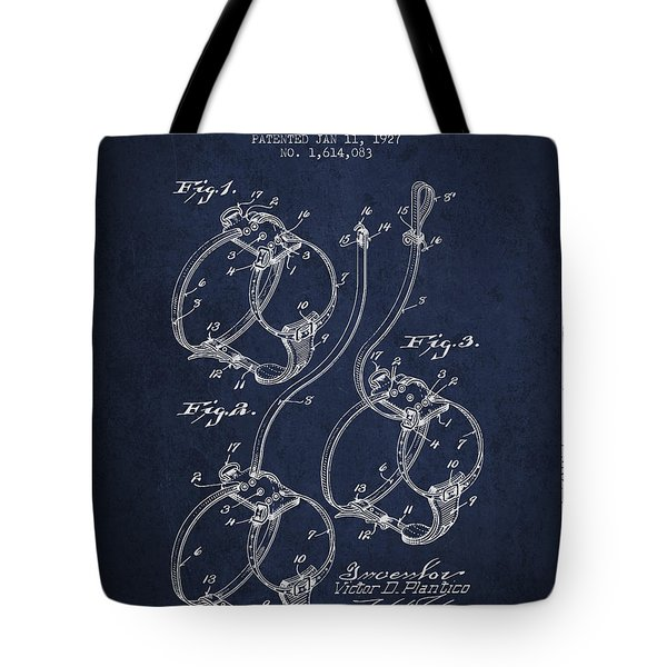 1927 Dog Harness Patent - Navy Blue Tote Bag
