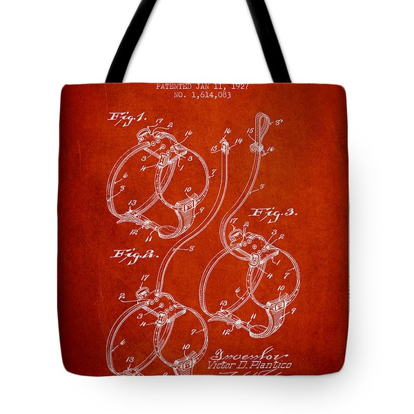 1927 Dog Harness Patent - Red Tote Bag