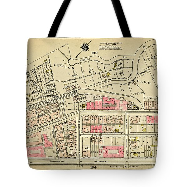 Tote Bag featuring the photograph 1927 Inwood Map  by Cole Thompson