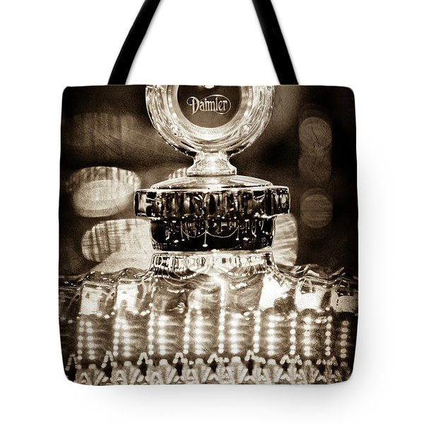 Tote Bag featuring the photograph 1928 Daimler Hood Ornament - Moto Meter -0616s by Jill Reger