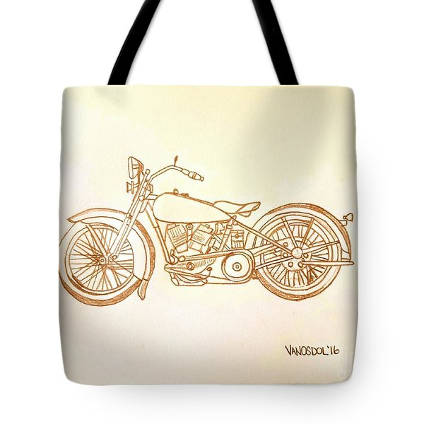 1928 Harley Davidson Motorcycle Graphite Pencil - Sepia Tote Bag