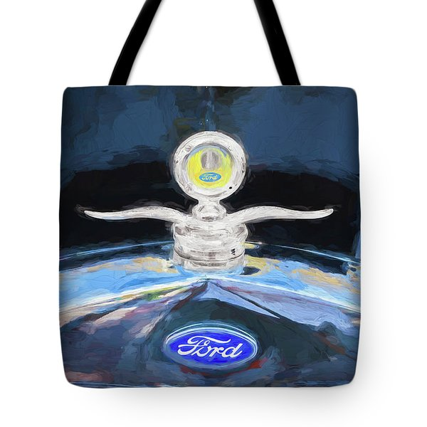Tote Bag featuring the photograph 1929 Ford Model A Hood Ornament Painted by Rich Franco