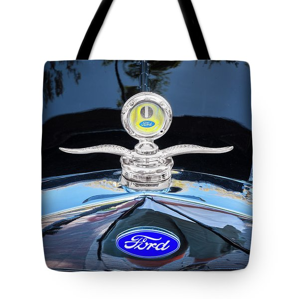 Tote Bag featuring the photograph 1929 Ford Model A Hood Ornament  by Rich Franco