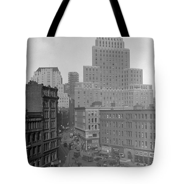 Tote Bag featuring the photograph 1929 Summer Street In Dock Square Boston by Historic Image