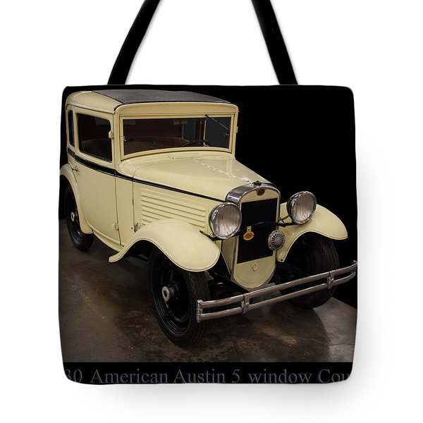 Tote Bag featuring the digital art 1930 American Austin 5 Window Coupe by Chris Flees