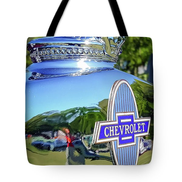 1930 Chevrolet Ad Hood Ornament Tote Bag