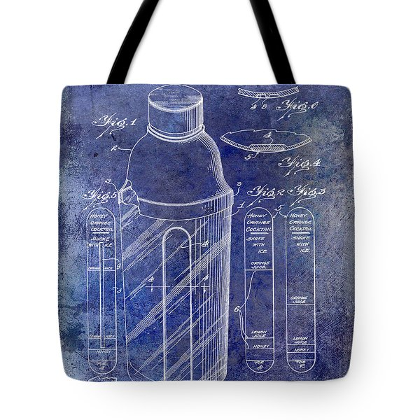 1930 Cocktail Shaker Patent Blue Tote Bag