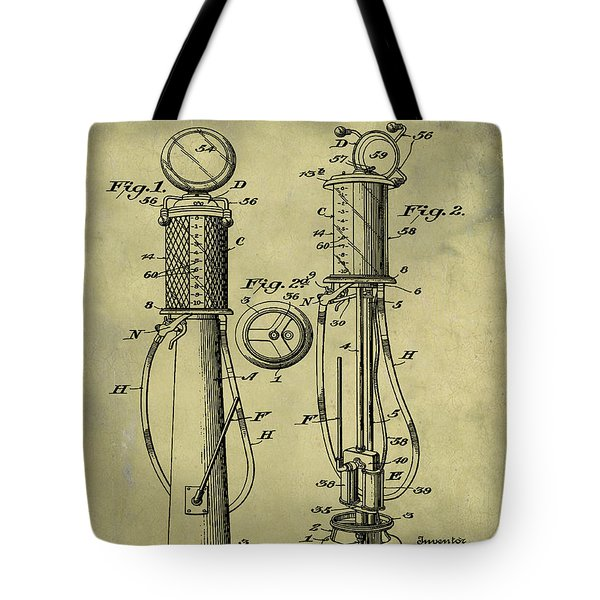 1930 Gas Pump Patent In Weathered Tote Bag