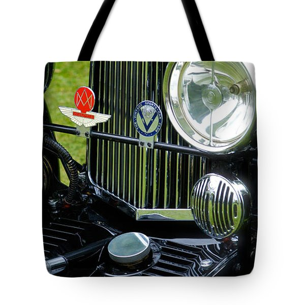 Tote Bag featuring the photograph 1930s Aston Martin Front Grille Detail by John Colley