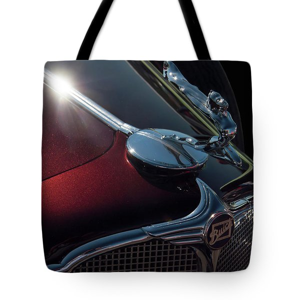 Tote Bag featuring the photograph 1930s Buick Flying Goddess Hood Ornament by Chris Flees