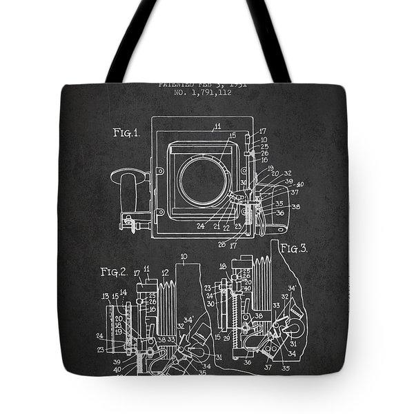 1931 Camera Patent - Charcoal Tote Bag
